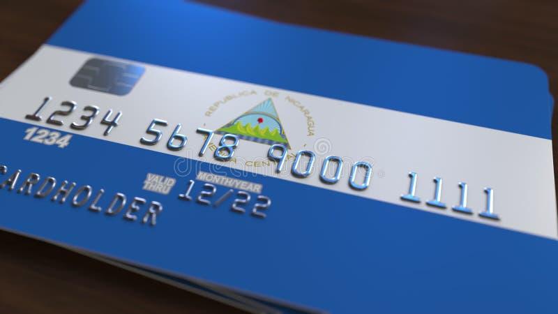 Tarjeta de banco plástica que ofrece la bandera de Nicaragua Representación relacionada al sistema bancaria nacional nicaragüense stock de ilustración
