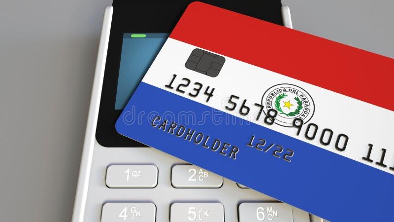 Tarjeta de banco plástica que ofrece la bandera de Paraguay y del terminal del pago de la posición Sistema bancario paraguayo o 3 ilustración del vector