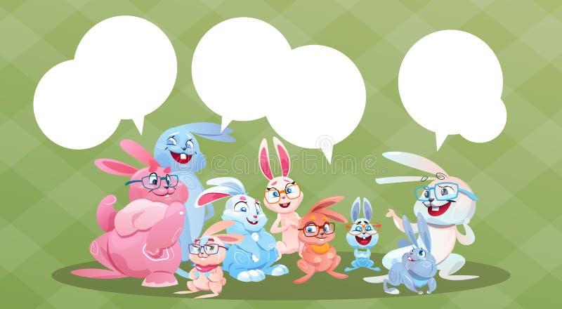 Tarjeta de Bunny Group Chat Bubble Greeting del día de fiesta de Pascua del conejo ilustración del vector