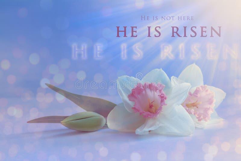 Tarjeta de Christian Easter Resurrección de Jesus Christ, concepto religioso de Pascua ilustración del vector