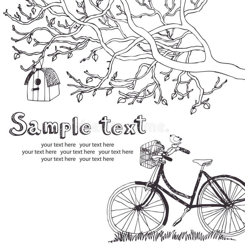 Tarjeta de ciclo de la primavera ilustración del vector