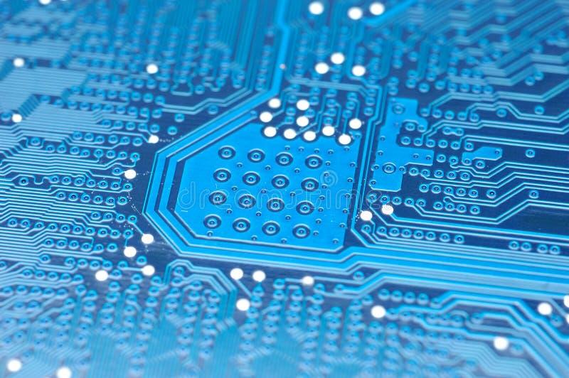 Tarjeta de circuitos azul foto de archivo