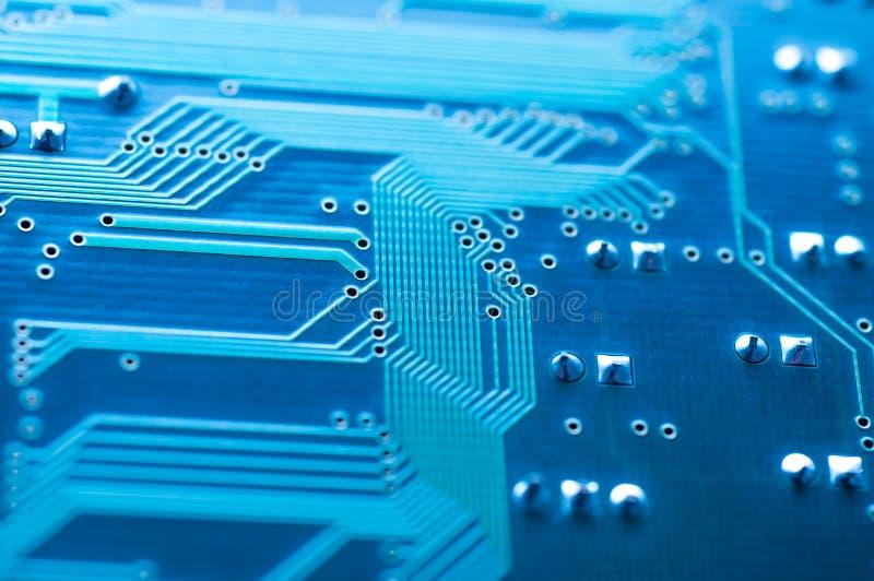 Tarjeta de circuitos azul de ordenador foto de archivo libre de regalías