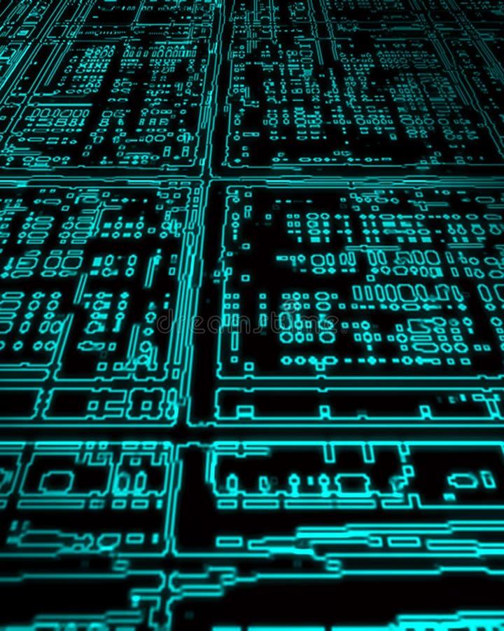 Tarjeta de circuitos de la PC que brilla intensamente stock de ilustración