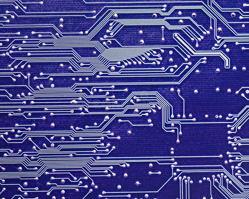 Tarjeta de circuitos de ordenador en azul ilustración del vector