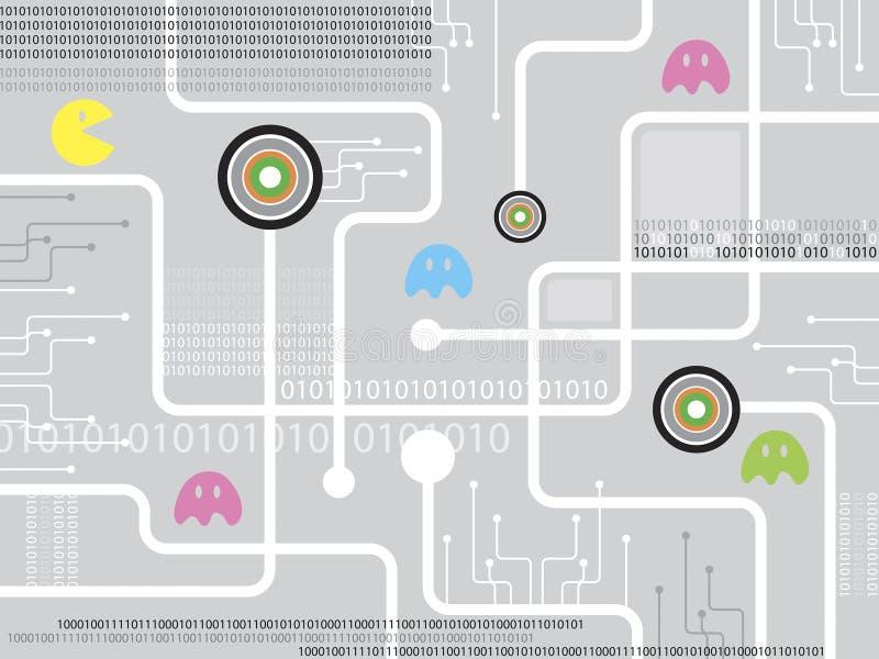 Tarjeta de circuitos del juego ilustración del vector
