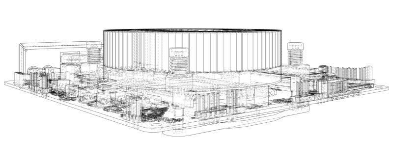 tarjeta de circuitos electr?nicos Ilustraci?n del vector Alambre-marco Ejemplo de trazado de 3d libre illustration
