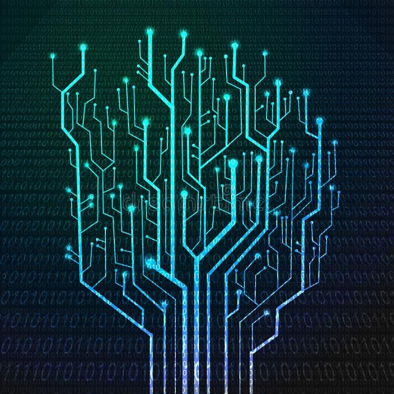 Tarjeta de circuitos en dimensión de una variable del árbol libre illustration