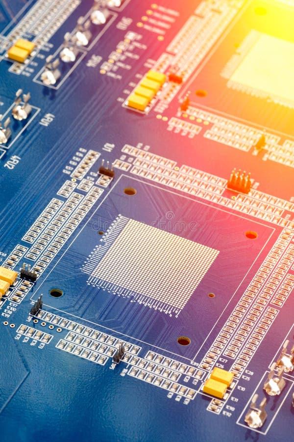 Tarjeta de circuitos Tecnología electrónica del hardware Microprocesador digital de la placa madre imágenes de archivo libres de regalías