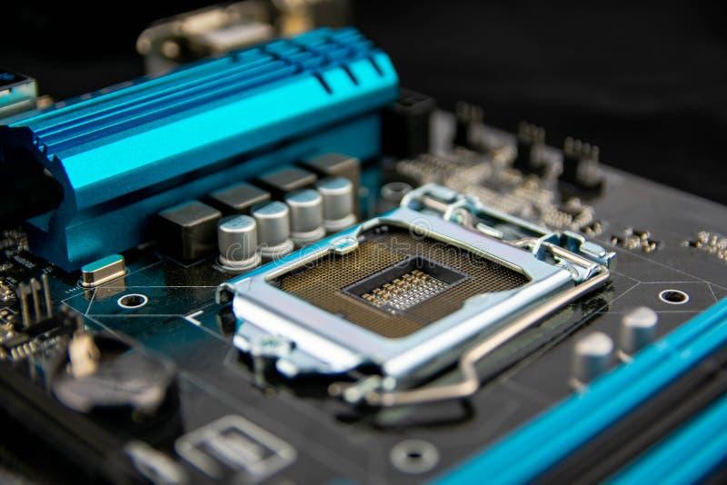 Tarjeta de circuitos Tecnología electrónica del hardware Microprocesador digital de la placa madre Fondo moderno de la tecnología foto de archivo libre de regalías