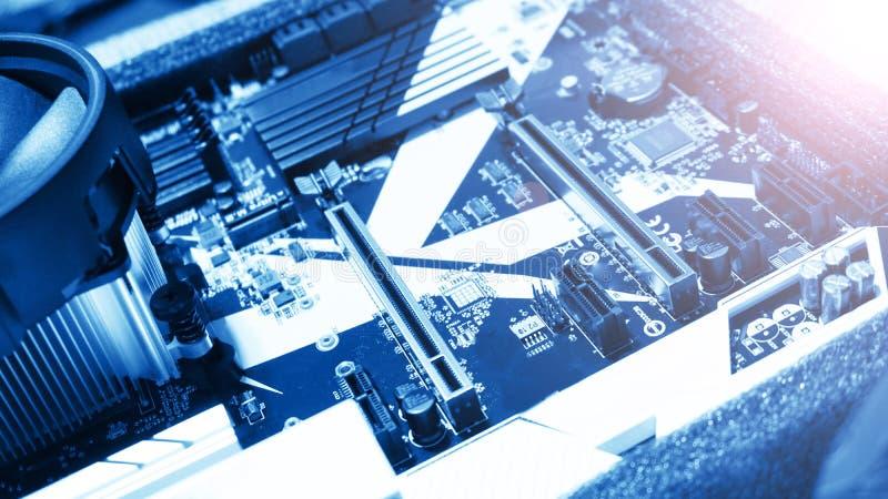Tarjeta de circuitos Tecnología electrónica del hardware Placa madre digital foto de archivo libre de regalías