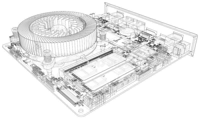 Tarjeta de circuitos Tecnolog?a electr?nica del hardware Representaci?n del vector de 3d stock de ilustración
