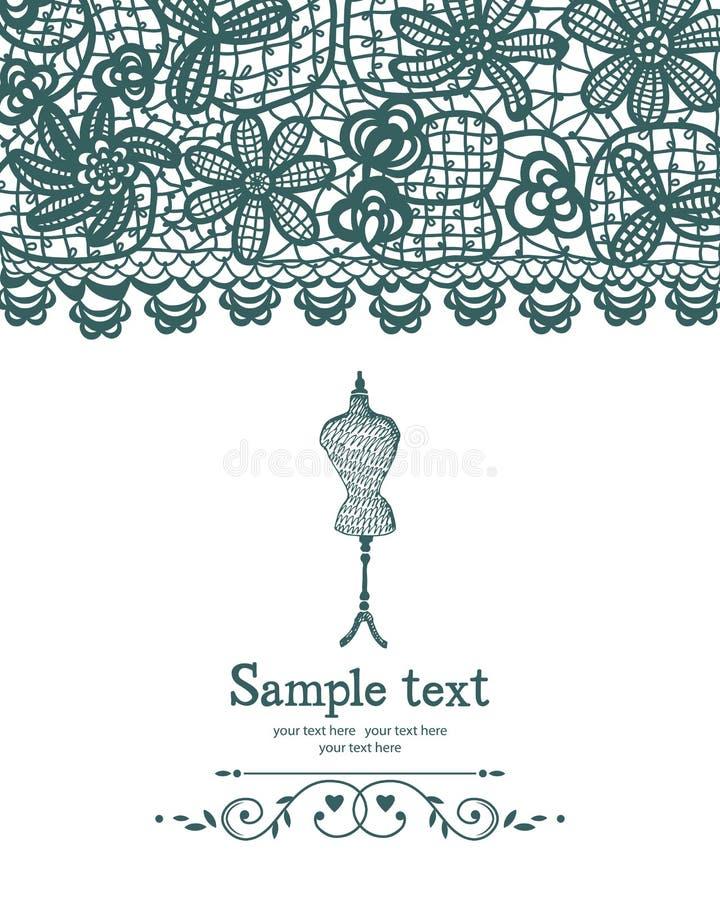 Tarjeta de costura del ganchillo y del maniquí del vintage ilustración del vector