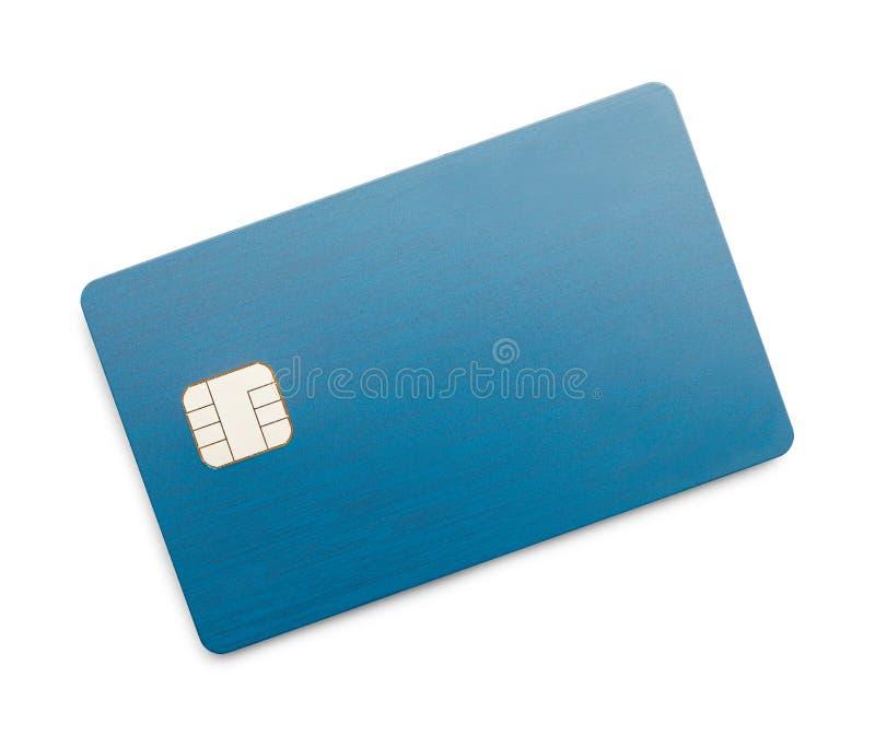 Tarjeta de crédito azul con el microprocesador foto de archivo libre de regalías