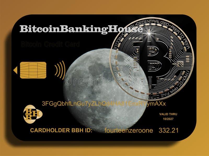 Tarjeta de crédito de Bitcoin ilustración del vector