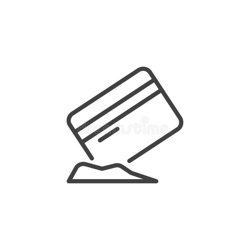Tarjeta de crédito con el icono del esquema de la cocaína ilustración del vector