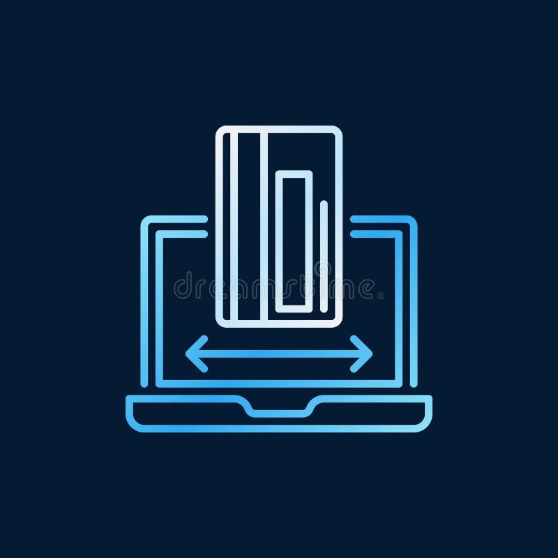 Tarjeta de crédito con el icono o la muestra coloreado esquema del vector del ordenador portátil stock de ilustración