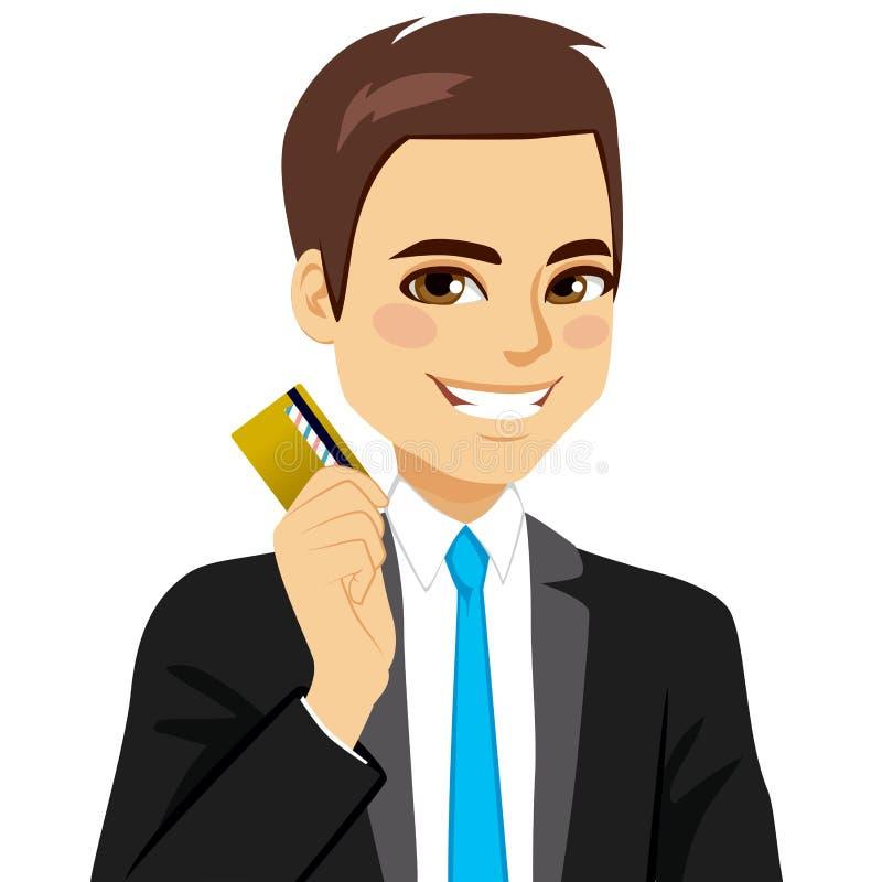 Tarjeta de crédito del hombre de negocios stock de ilustración