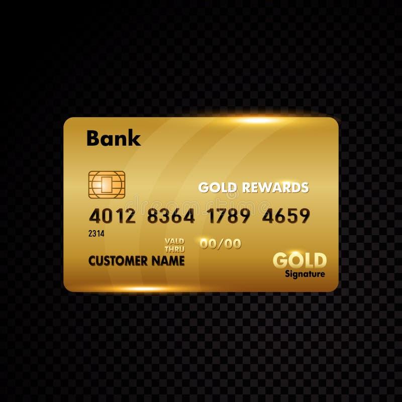 Tarjeta de crédito del oro en negro ilustración del vector