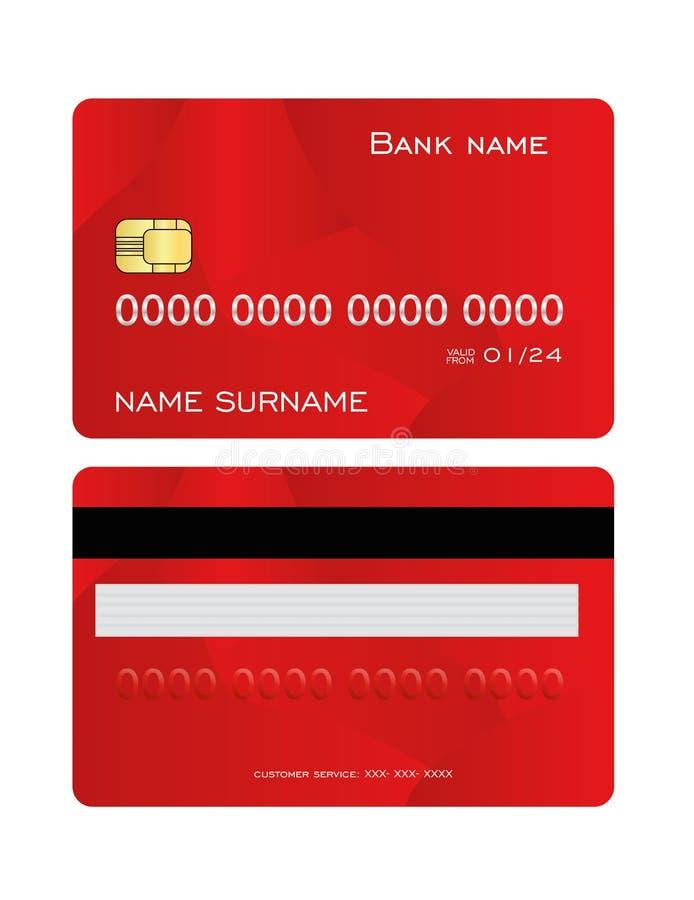 Tarjeta de crédito detallada realista fijada con el fondo abstracto rojo colorido del diseño Plantilla del lado delantero y trase ilustración del vector