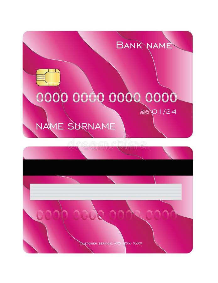 Tarjeta de crédito detallada realista fijada con el fondo abstracto rosado colorido del diseño Plantilla del lado delantero y tra stock de ilustración