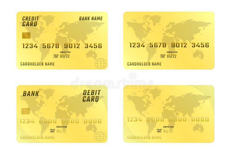 Tarjeta de crédito en el fondo blanco en cuatro variaciones libre illustration