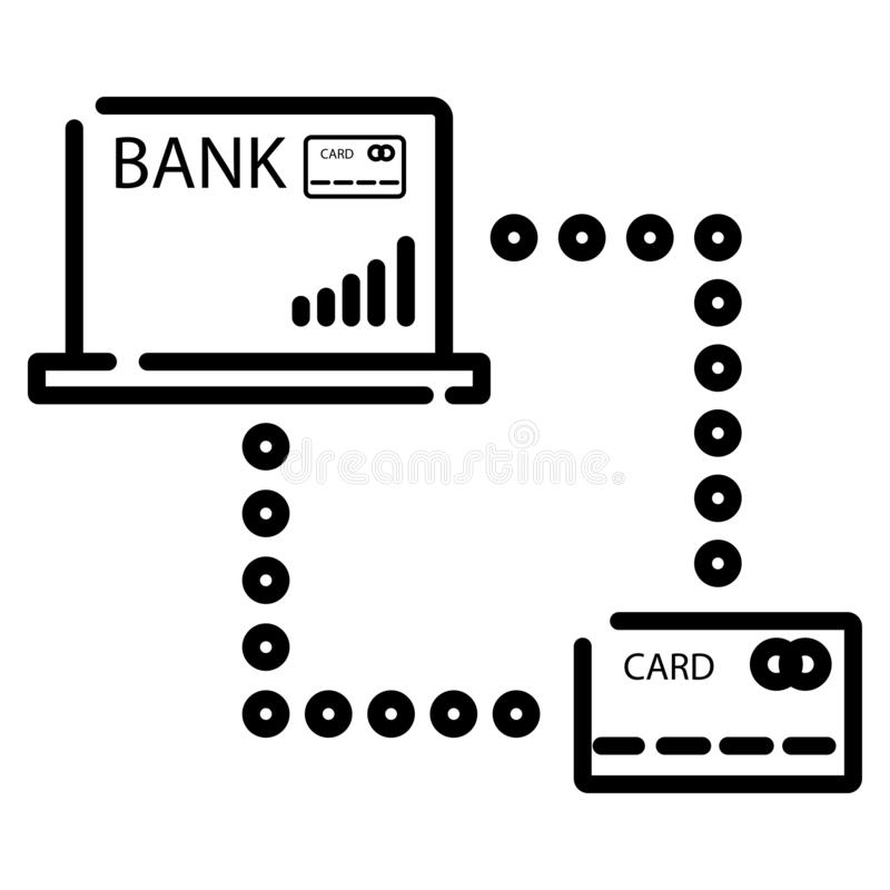 Tarjeta de crédito en icono del ordenador portátil ilustración del vector