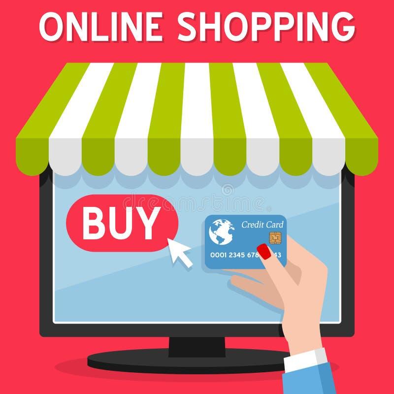 Tarjeta de crédito en línea de las compras del ordenador ilustración del vector