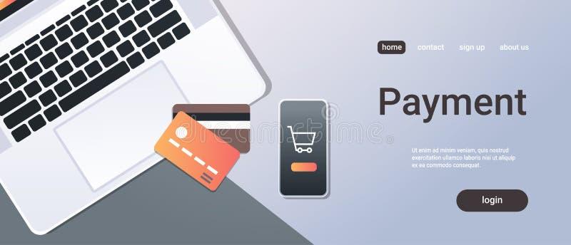 Tarjeta de crédito de escritorio en línea de la pantalla del ordenador portátil del smartphone de la opinión de ángulo superior d stock de ilustración