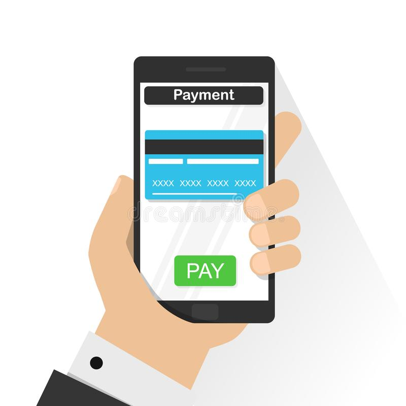 Tarjeta de crédito móvil de pago, mano que sostiene el teléfono, vector plano del diseño stock de ilustración