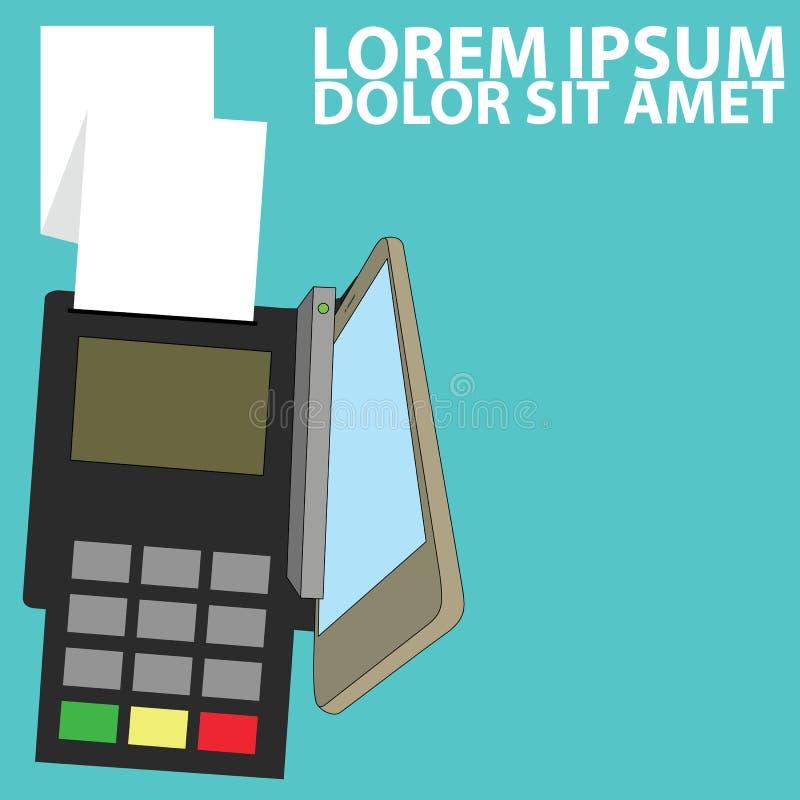 Tarjeta de crédito mercantil de la paga elegante del teléfono stock de ilustración