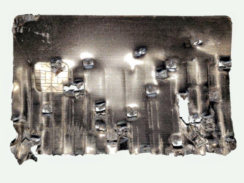 Tarjeta de crédito parcialmente destrozada imagen de archivo