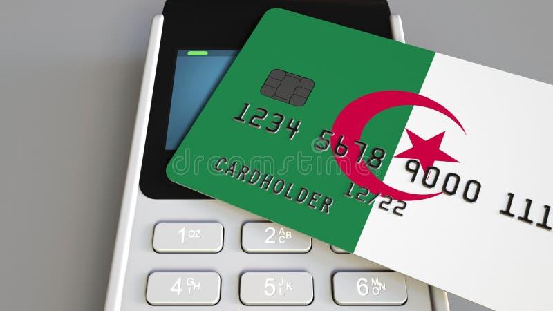 Tarjeta de crédito que ofrece la bandera de Argelia y del terminal del pago de la posición Sistema bancario argelino o representa ilustración del vector