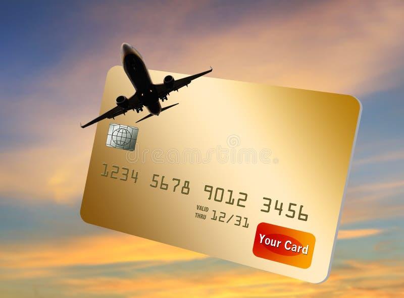 Tarjeta de crédito que recompensa a usuarios con millas y puntos de la línea aérea stock de ilustración