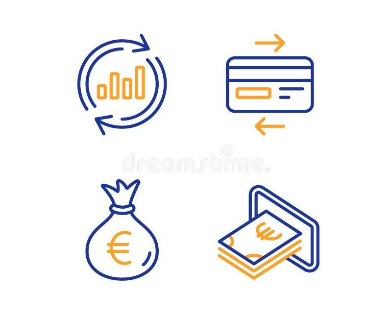Tarjeta de cr?dito, bolso del dinero y sistema de los iconos de los datos de la actualizaci?n Muestra del efectivo Pago del banco ilustración del vector