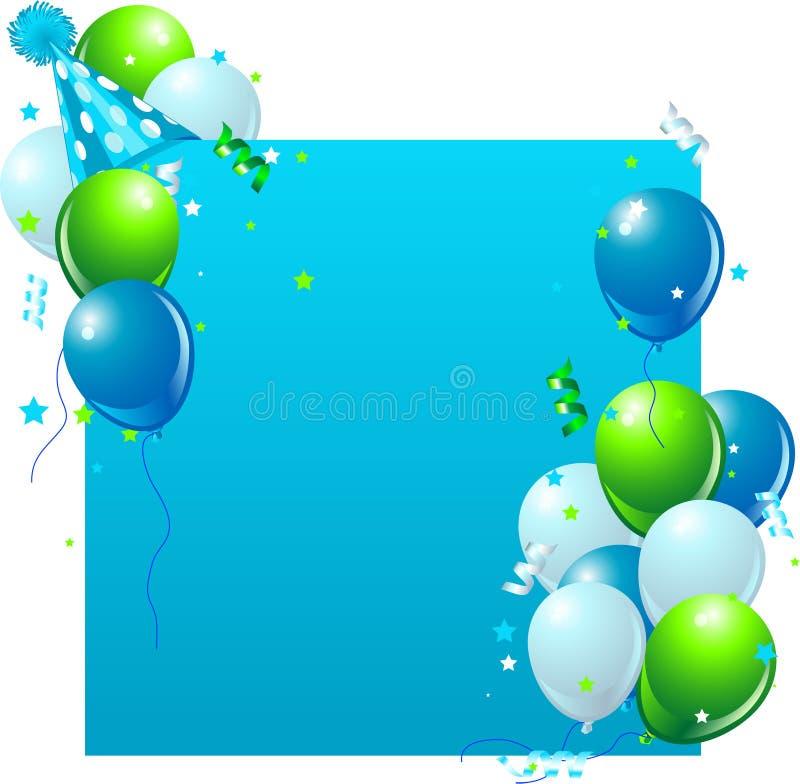 Tarjeta de cumpleaños azul stock de ilustración