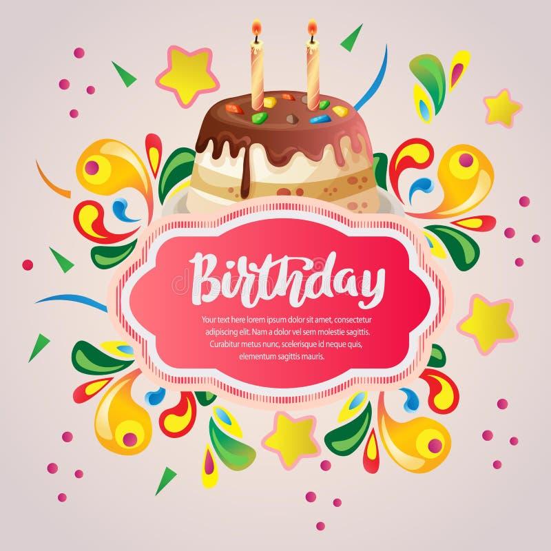 Tarjeta de cumpleaños colorida con la torta de cumpleaños libre illustration