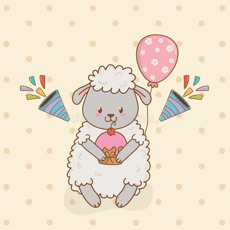 Tarjeta de cumpleaños con arbolado lindo de las ovejas libre illustration
