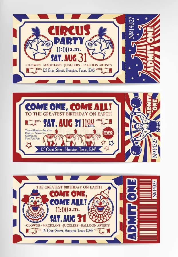 Tarjeta de cumpleaños con el boleto del circo stock de ilustración