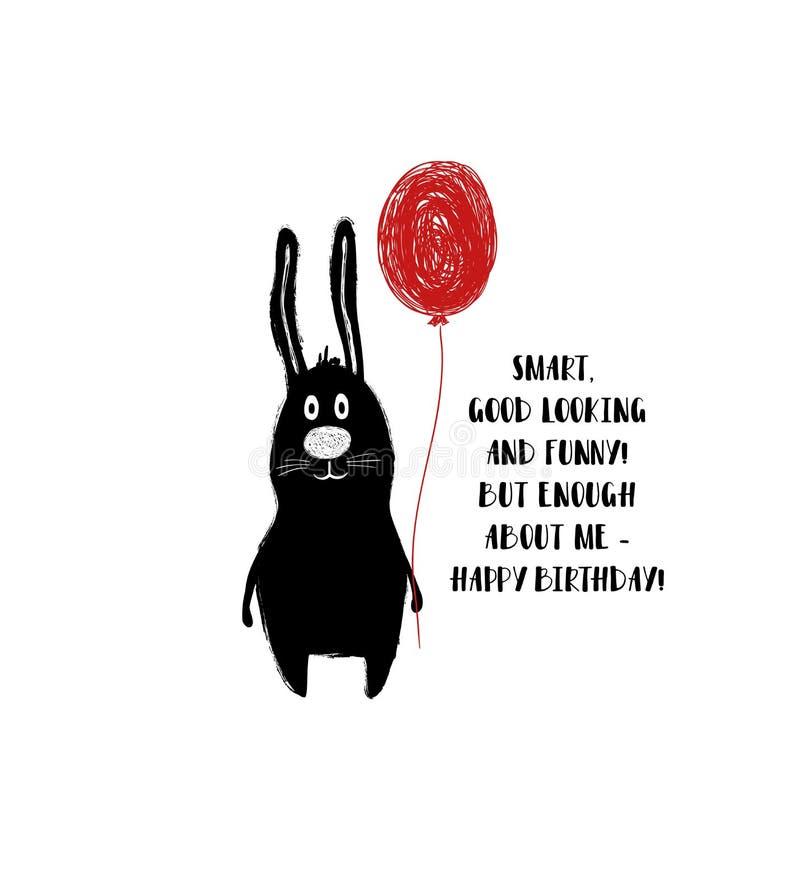 Tarjeta de cumpleaños con el conejo lindo ilustración del vector