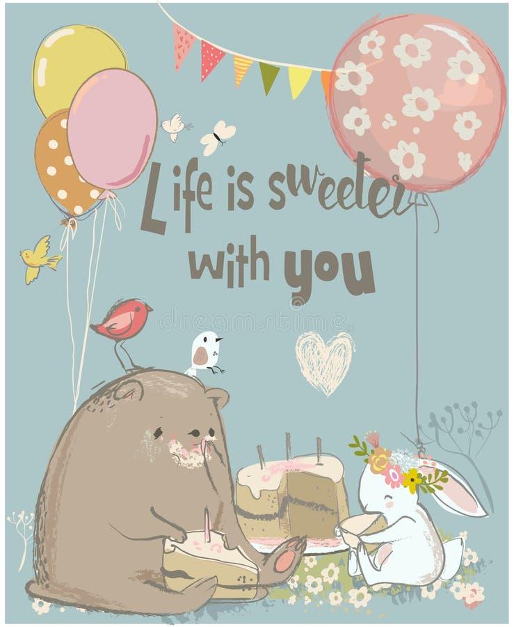 Tarjeta de cumpleaños con el oso y las liebres lindos stock de ilustración