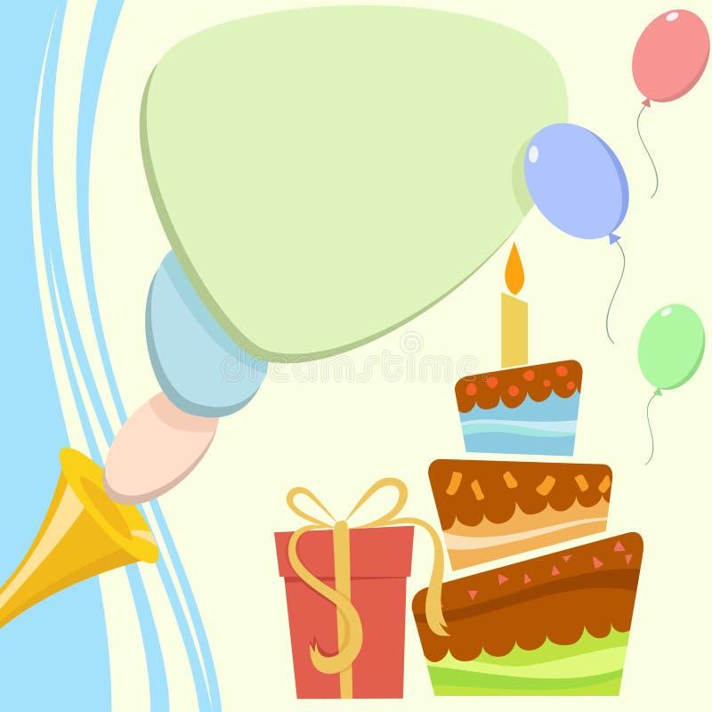 Tarjeta de cumpleaños con el rectángulo de la torta y de regalo ilustración del vector