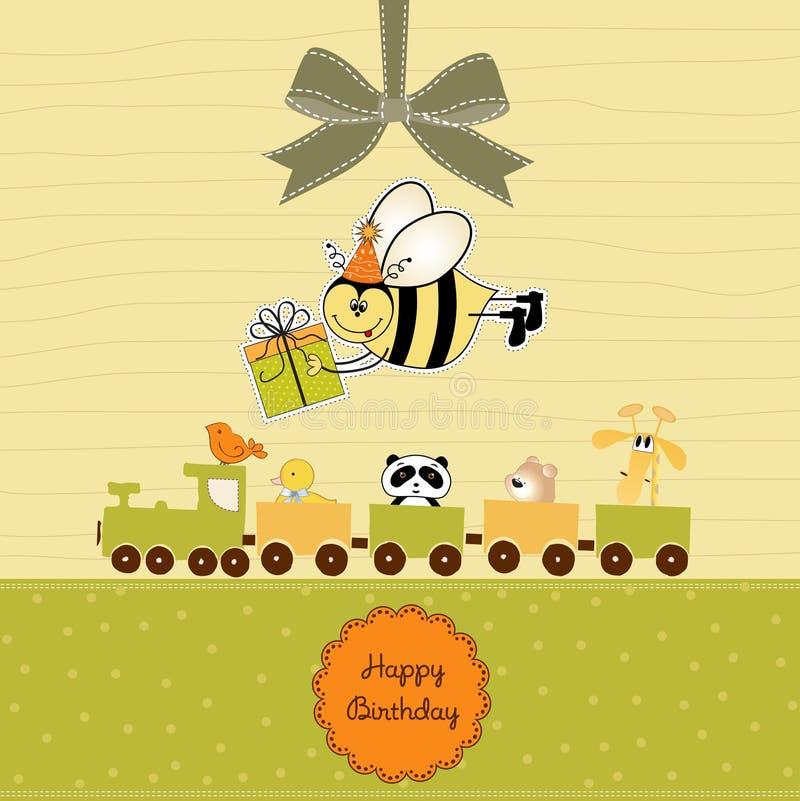 Tarjeta de cumpleaños con la abeja ilustración del vector