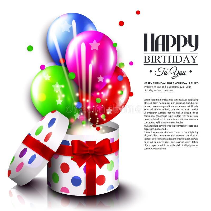 Tarjeta de cumpleaños con la caja de regalo abierta, globos y ilustración del vector
