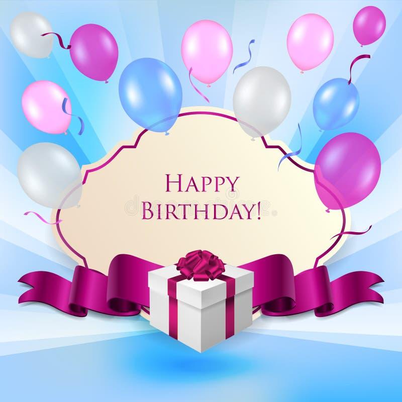 Tarjeta de cumpleaños con la caja de regalo y los baloons stock de ilustración