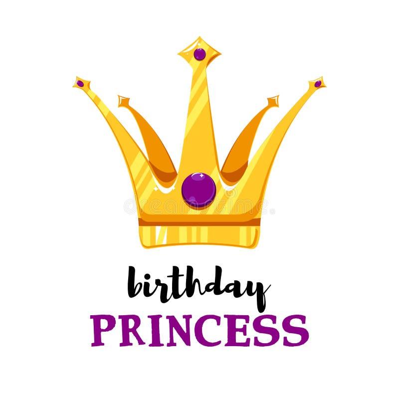 Tarjeta de cumpleaños con la corona de la historieta libre illustration