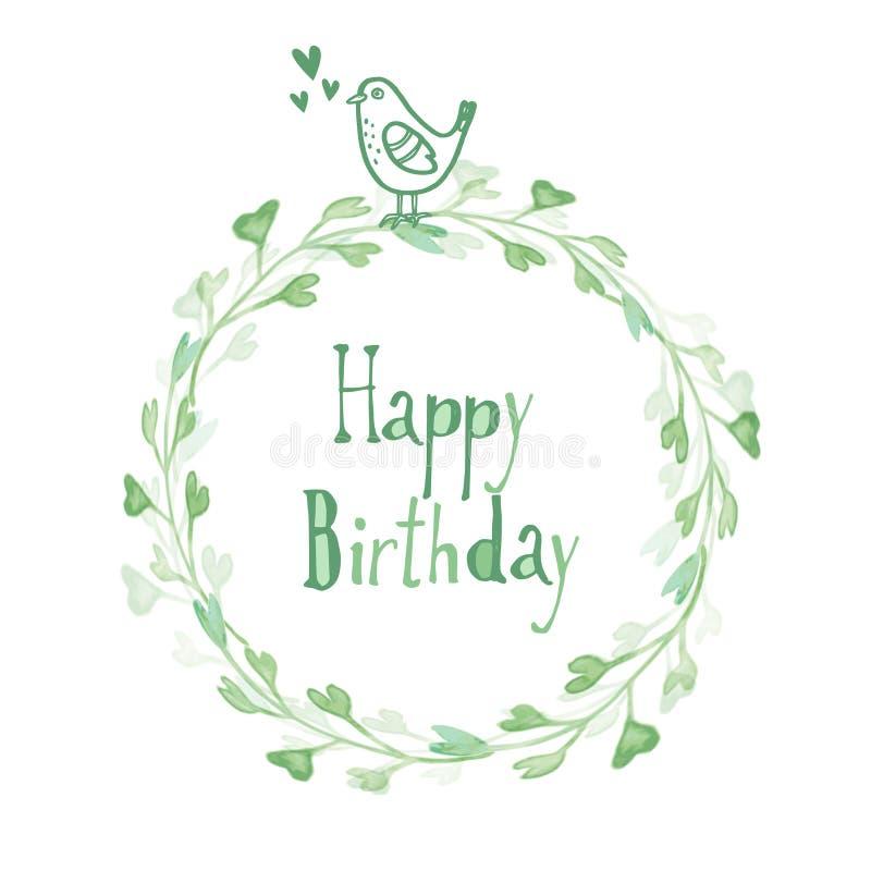Tarjeta de cumpleaños con la guirnalda y el pájaro florales de la acuarela, stock de ilustración
