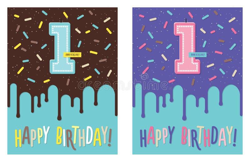 Tarjeta de cumpleaños con la vela de la celebración del número 1 stock de ilustración