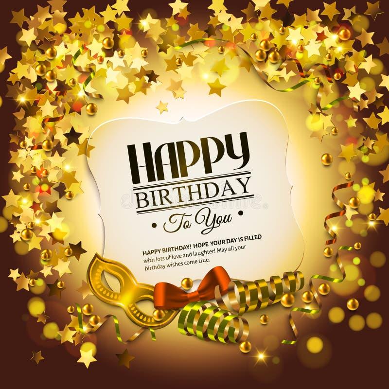 Tarjeta de cumpleaños con las estrellas de oro, el encresparse colorido ilustración del vector