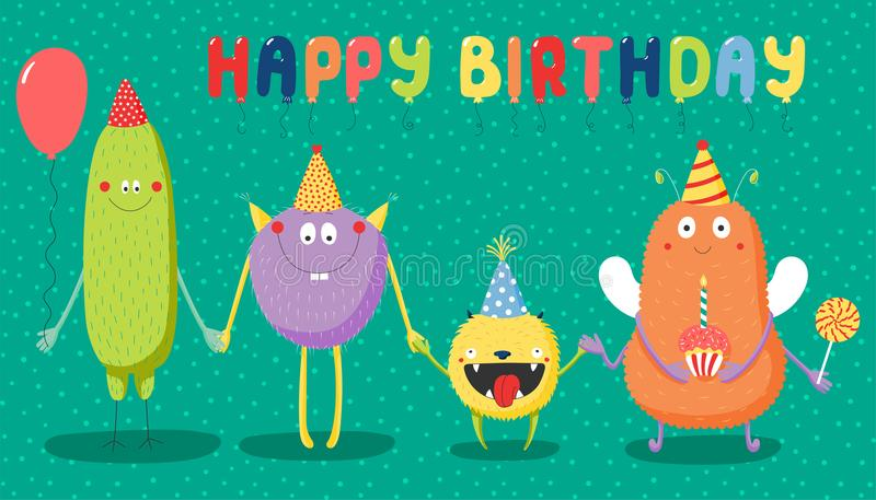 Tarjeta de cumpleaños con los monstruos divertidos lindos ilustración del vector